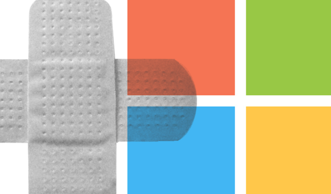 microsoft windows logo with a bandage' logo with a bandage