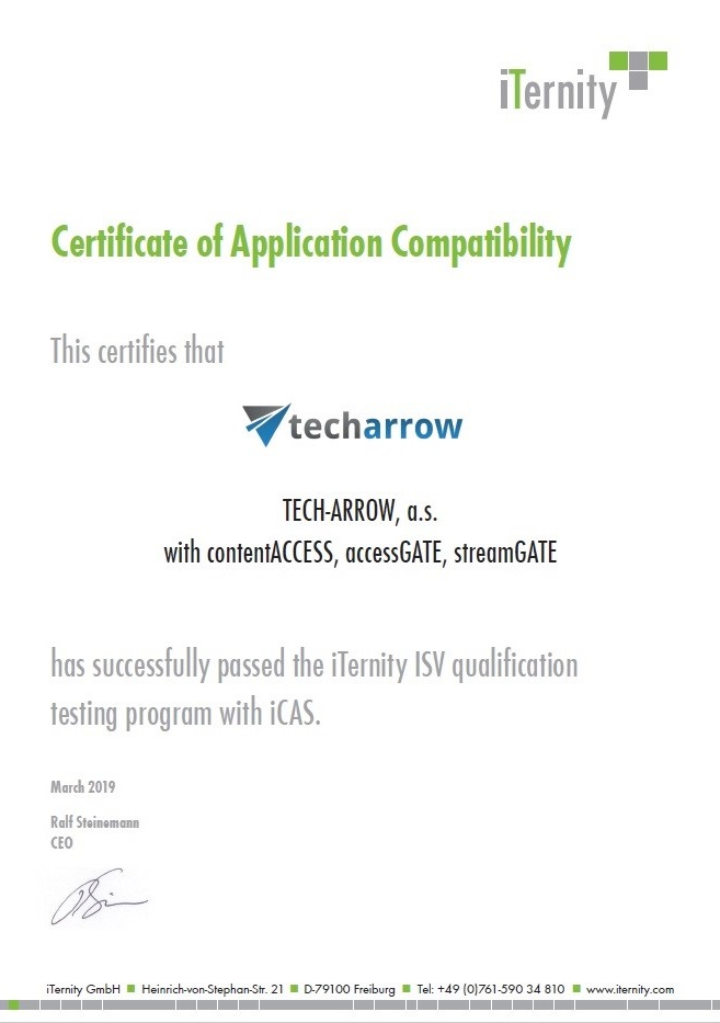 TECH-ARROW and iTernity are announcing partnership